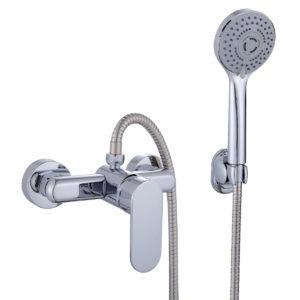 conjunto de ducha en cromo, monomando