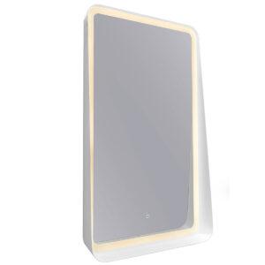 espejo led con estante blanco