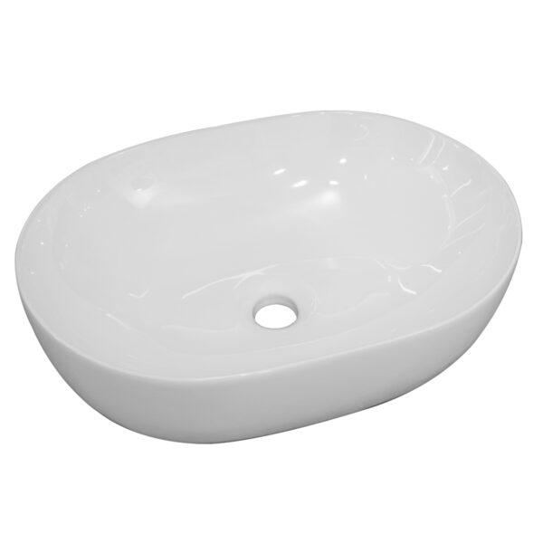sobre encimera de porcelana vitrificada blanca