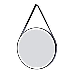 espejo led con cinta de cuero